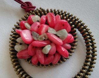 Zipper necklace - Zipper jewelry - Gemstone  Jewelry - Valentines Gift