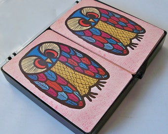 Mid Century Mod Owl Playing Cards, Bridge Cards, Boxed Double Deck