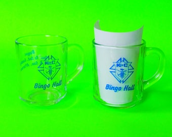 Bingo Hall Knights of Columbus Retro Vintage Chic Kitschy Kitchen Clear Arcoroc France Coffee Mugs Set of Two