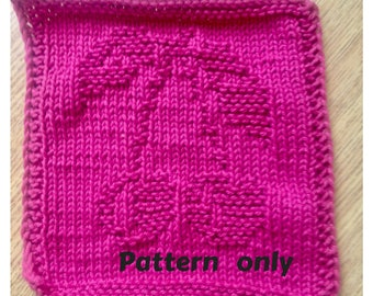 PATTERN - dishcloth / washcloth knitting pattern - Cherries