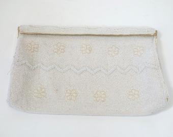 Vintage Beaded Satin Clutch, Ivory Bead Purse, 1950s Clutch, Wedding Clutch,Joseph Magnin