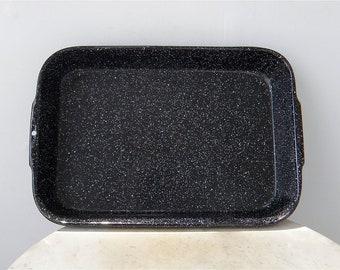 """SPATTERWARE ROASTING PAN Vintage Black & White Baking Cooking Kitchenware 15 1/2"""" x 10 1/2 x 2 1/2"""" Enamelware American Made Kitchenalia"""