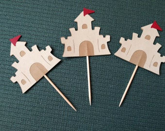 Beach - Sandcastle Cupcake Toppers - Beach - Summer - Set of 12
