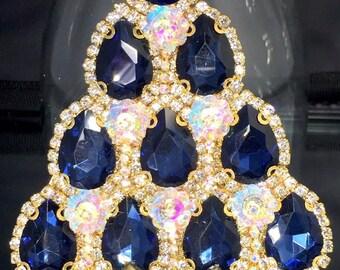 Sapphire Tear Drop Glass & Vintage Rhinestone Christmas Tree Pin Brooch Signed LaHeir
