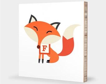F is for Fox : ABC Block Bamboo Wall Art Series // Alphabet Kids Wall Art Nursery Room Decor Animal Art Baby