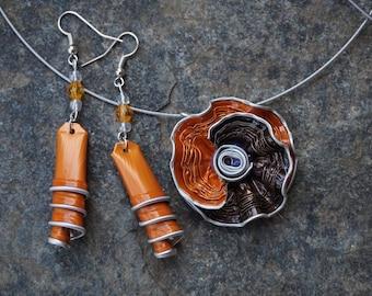 Flower Adornment capsule nespresso coffee silver, silver, green, orange crew neck and earrings