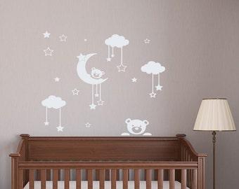Wall Decals for Kids Nursery Bedroom Teddy Bear Moon Stars Vinyl Sticker Home Decor Art Murals MM15
