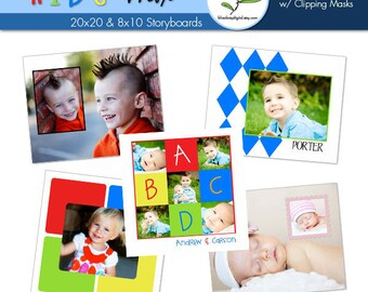 8x10 and 20x20 Kid Storyboard Collection - Photographer Templates