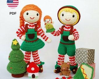Patrón de amigurumi: Elfos de Navidad (muñeca niño y niña) Ayudantes de Papá Noel con juguetes. Decoración navideña (patrón PDF en INGLÉS)