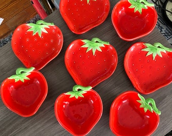 Glass strawberry bowls and small dishes