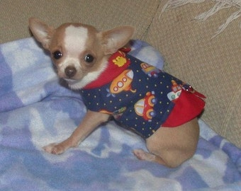 Custom Dog Harness Vest - Boy fabrics - CARS, PLANES, TRAINS - Choose -made to order - 2 to 15 lb dogs