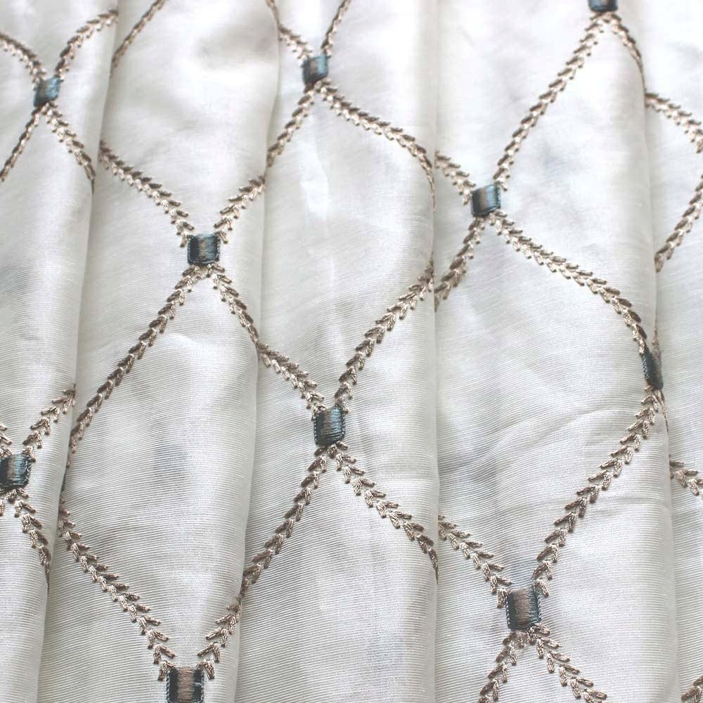 Geometric Diamonds Stitch Embroidery Sheer Curtain Panels
