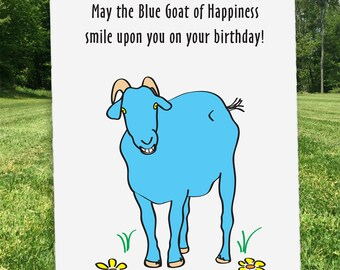 Goat birthday card etsy blue goat of happiness birthday birthday card goat card custom card happy bookmarktalkfo Image collections