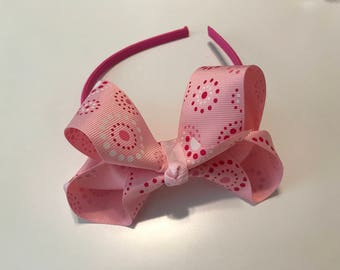 Pink Headband with Light Pink Bow/Pink Dots, Girls/Toddlers
