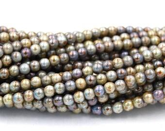 Opaque Green Luster 4mm round beads   - 100 Czech Beads