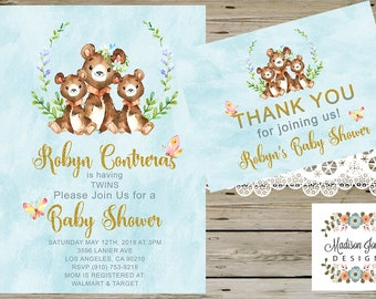 TWINS BABY SHOWER Invitation, Baby Bears Twins Baby Shower Invitation, Watercolor Bears, Mom and Twins, Bears Baby Shower
