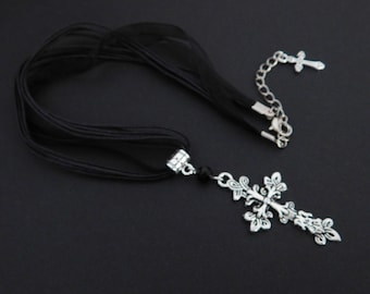 Black Organza Cord Filigree Cross Necklace Pendant - Gothic Halloween