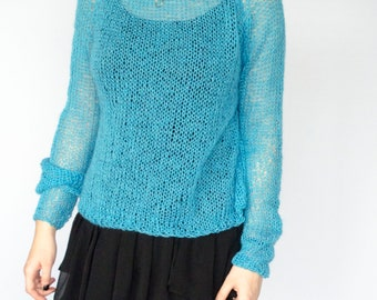 Womens Knitted  Mohair Sweater, Lightweight Boho Jumper, Long Sleeve Blue Knitwear, Gift for Boho Girl Friend, Hipster Friend Gift