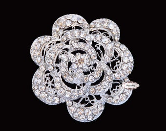 Rose Brooch Pin Rhinestone Crystal Metal Flatback Supply Embellishment Button Wedding Bridal Favor Brooch Bouquet Flower Hair Comb  RD188