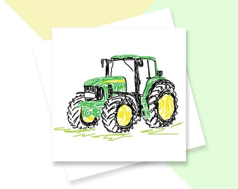 Green tractor greetings card