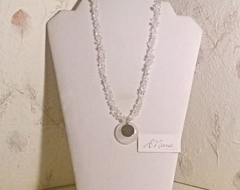 "Unisex Necklace: Genuine Clear Quartz And 925 Sterling Silver ""Health"" Reversible"
