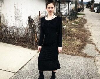 Vintage Black Velvet Dress- M