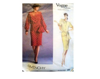 Vogue Pattern 1897 - Vintage Givenchy Skirt and Blouse Pattern - Paris Original - Has Been Cut