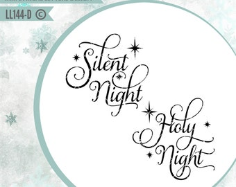 Silent Night Holy Night with Stars LL144 D - SVG - cut file - With ai, eps,svg (for Cricut users), dxf(for Silhouette users), jpg, png files