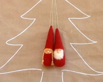Red Christmas Ornament Gnomes - Waldorf Inspired Figurines