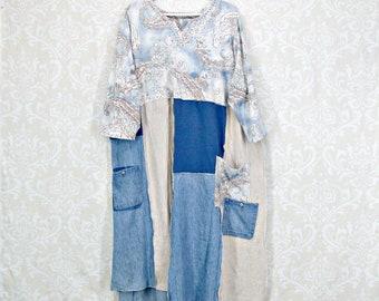 Plus Size Dress, Boho Dress, Wearable Art, Funky Linen Dress, Summer Dress, Long Tunic, Denim Dress, Plus Size Tunic, Patch Pockets