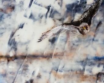 Bird Painting, Encaustic Painting, OOAK, Hawk Painting, Rain Painting, Encaustic Art, Oil Painting, Mixed Media Painting, Wax Painting