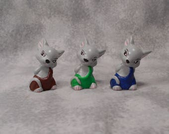 3 Vintage Hand Painted Ceramic Mice