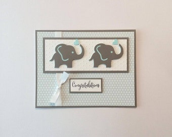 Baby Card For Twins/  Twin Boy's/ Twin Girl's/ Baby Card With Elephants/ Pink Blue Gray
