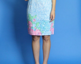 1950s-1960s. aqua blue brushstroke patterned. floral. pencil dress. extra small-small