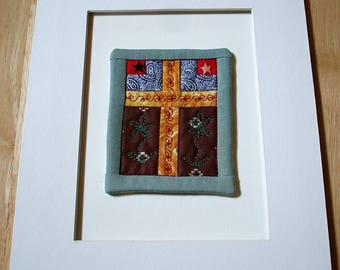 "Cross Between Flowers And Stars Mini-Quilt--4"" x 3""--Matted--Home Decor--Includes shipping"
