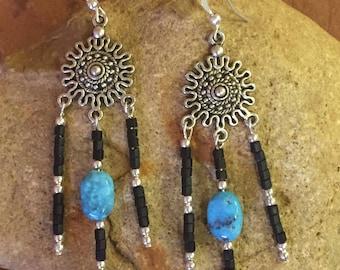 Southwestern Turquoise Earrings, Beaded Southwest Earrings, Silver Chandelier Dangle Earrings, Black Beaded Earrings, Cowgirl Western Gift