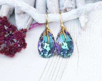 Purple bridal earrings Lavender teal bridesmaid earrings Rainbow crystal earrings Swarovski teardrop crystal earrings Rose gold wedding 5