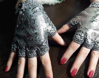 Designer Rock Leather Fingerless Gloves Handmade