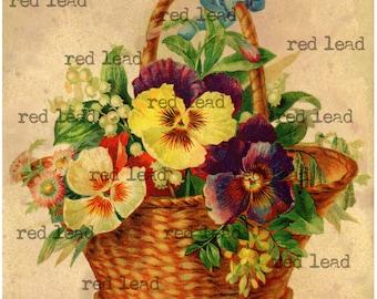 Old Fashioned Antique Pansy and Spring Flowers Basket Print - Digital Download Vintage Pansy Basket Print