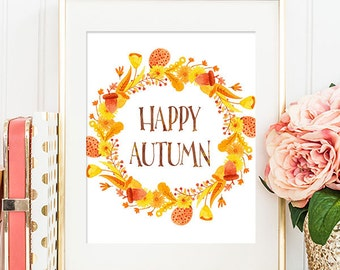 Happy Autumn Wreath - 8x10 Fall Printable Art, Autumn Decor, Fall Wall Art, Seasonal Decor, Seasonal Wall Art, Seasonal Print