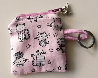 Key ring with cats, key-ring with kittens, purse with cats, purse with kittens, cat keyring, pink key chain with cats