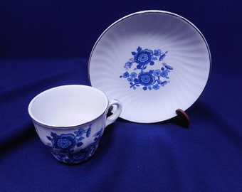 Vintage Enoch Wedgwood Tea Cup and Saucer Blue White
