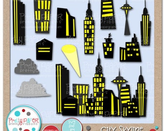 City Skyline Cutting Files and Clip Art  - Instant Download