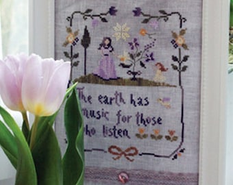The Earth Has Music - official printed cross stitch pattern, sampler, primitive, purple, yellow, mother