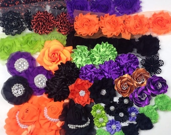 GRAB BAG of Halloween Themed Flowers and Bows