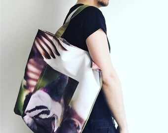 "Reversible Recycled Canvas Tote Bag ""Pigeon"""