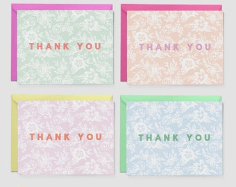 Floral Thank Card Set - Notecard Set - Set of 8 Cards