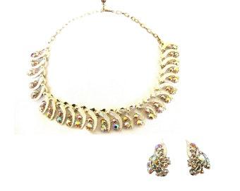Earrings Necklace Set Aurora Borealis Rhinestone Rose Gold Plate 1960s