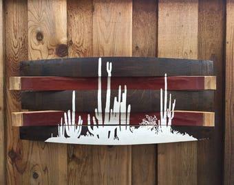 Cactus Silhouette Reclaimed Wine Barrel Wall Hang - Desert Silhouette Sign - Rustic Desert Picture - Rustic Art