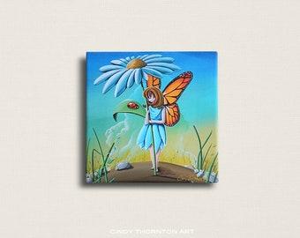 8x8 Signed Canvas Print - My Fair Lady - fairies and ladybugs - by Cindy Thornton